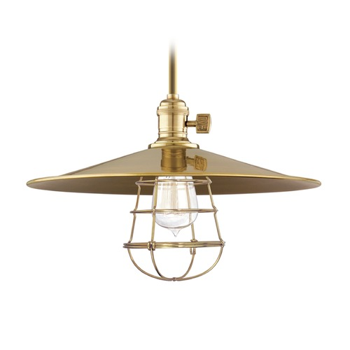 Hudson Valley Lighting Hudson Valley Lighting Heirloom Aged Brass Pendant Light with Coolie Shade 9001-AGB-MM1-WG