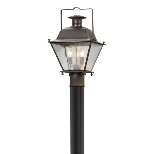 Troy Lighting Seeded Glass LED Post Light Iron Troy Lighting PL5075CI