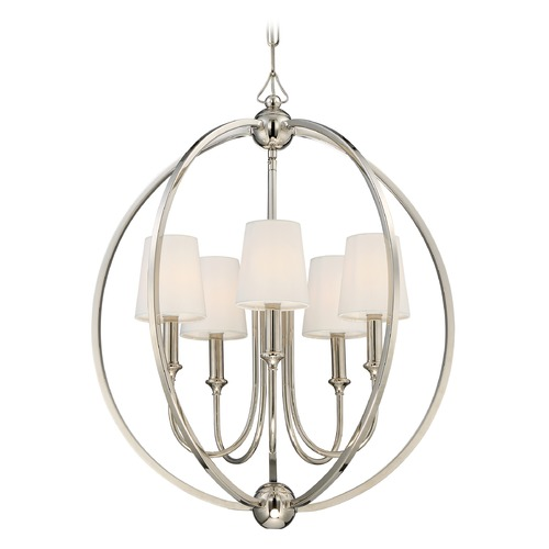 Crystorama Lighting Crystorama Lighting Sylvan Polished Nickel Pendant Light with Empire Shade 2247-PN