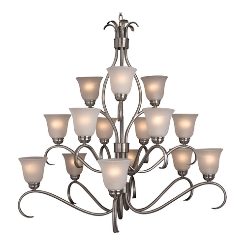 Maxim Lighting Modern Chandelier with White Glass in Satin Nickel Finish 10129ICSN