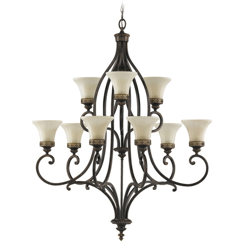 Feiss Lighting Chandelier with Amber Glass in Walnut Finish F2225/6+3WAL