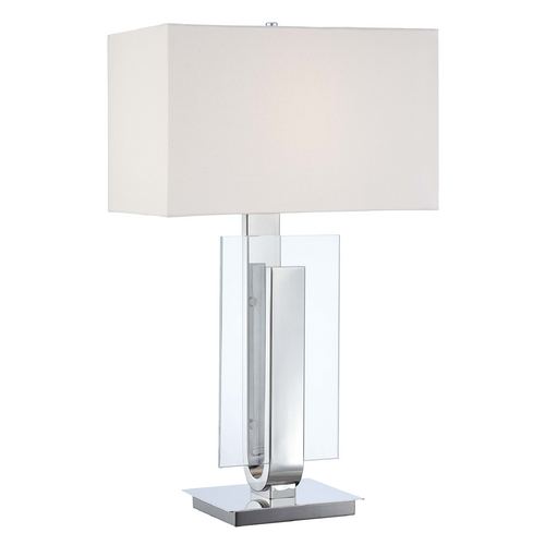 George Kovacs Lighting Modern Table Lamp with White Shade in Polished Nickel Finish P794-613