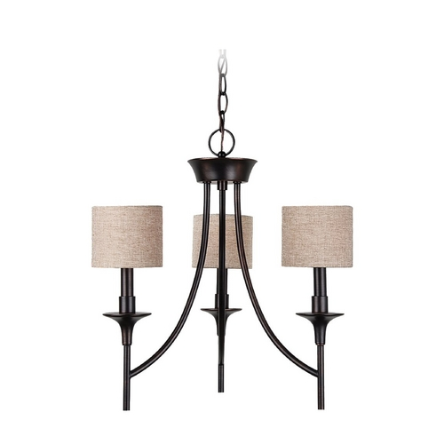 Sea Gull Lighting Mini-Chandelier with Beige / Cream Shades in Burnt Sienna Finish 31932-710