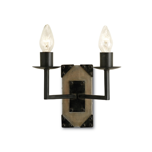 Currey and Company Lighting Plug-In Wall Lamp in Old Iron/natural Ash Finish 5062