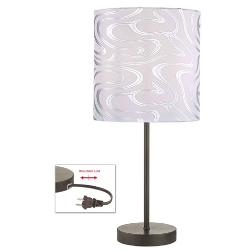 Design Classics Lighting Table Lamp with Silver Patterned Drum Shade 1904-604 SH9495