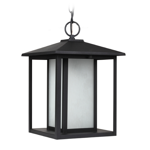 Sea Gull Lighting Outdoor Hanging Light with White Glass in Black Finish 69029BLE-12