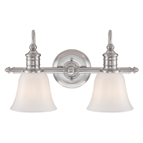Quoizel Lighting Bathroom Light with White Glass in Brushed Nickel Finish BGT8602BN