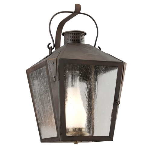 Troy Lighting Natural Rust Outdoor Wall Light with Clear Seedy Glass  BF3763NR