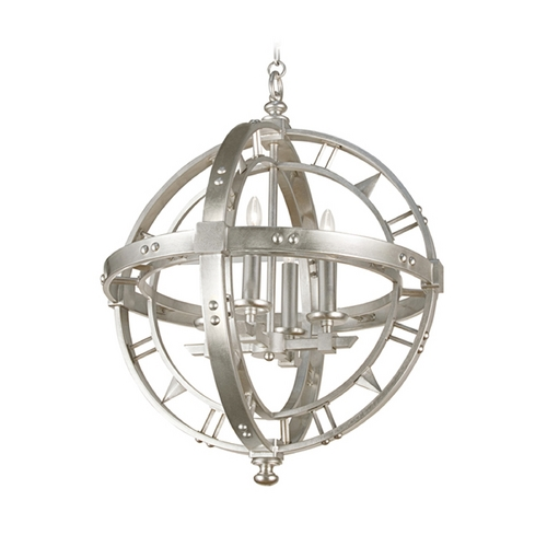 Fine Art Lamps Fine Art Lamps Liaison Platinized Silver Leaf Pendant Light 861240-2ST