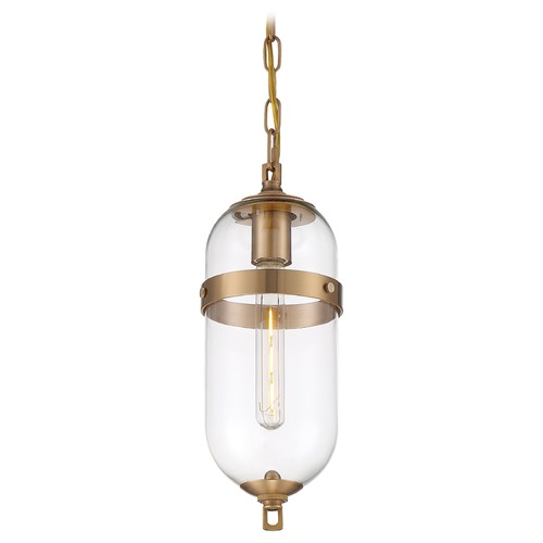 Nuvo Lighting Satco Lighting Fathom Vintage Brass Pendant Light with Oblong Shade 60/6911