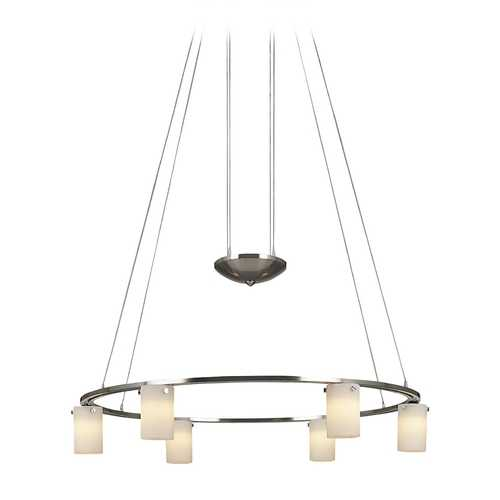 George Kovacs Lighting Modern Chandelier with White Glass in Brushed Nickel Finish P8025-084