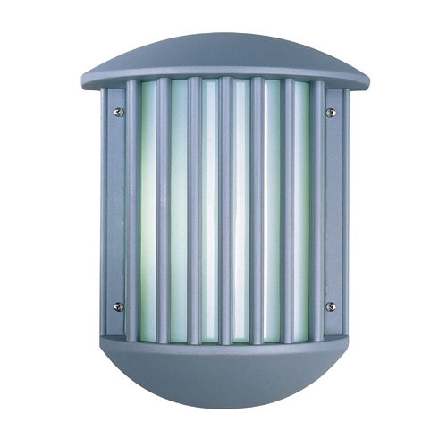 ET2 Lighting Modern Outdoor Wall Light with White Glass in Platinum Finish E21053-61PL
