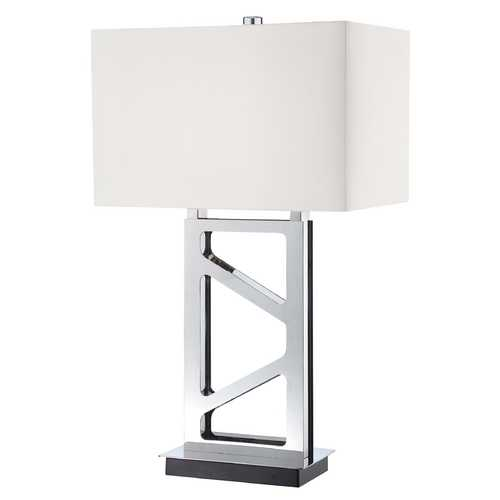 George Kovacs Lighting Modern Table Lamp with White Shade in Polished Nickel Finish P795-613
