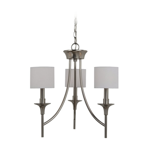 Sea Gull Lighting Mini-Chandelier with White Shades in Brushed Nickel Finish 31932-962