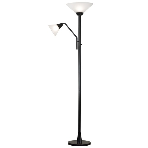 Kenroy Home Lighting Modern Torchiere Lamp with White Glass in Oil Rubbed Bronze Finish 21002ORB