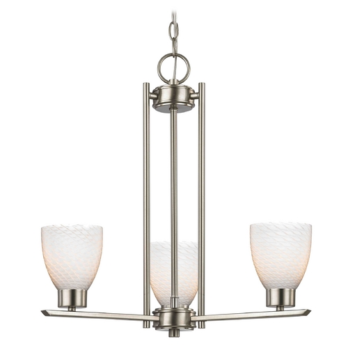 Design Classics Lighting Chandelier with White Glass in Satin Nickel - 3-Lights 1121-1-09 GL1020MB