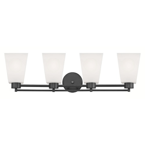 Design Classics Lighting Modern Bathroom Light White Glass Black 4 Lt 704-07 GL1057