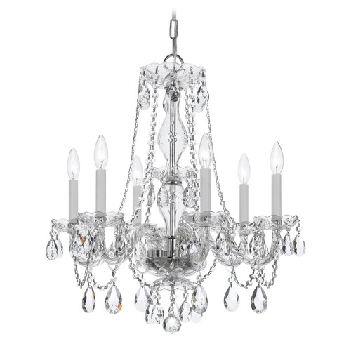 Crystorama Lighting Crystorama Traditional 6-Light Crystal Chandelier in Polished Chrome 5086-CH-CL-SAQ