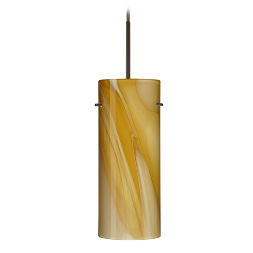 Besa Lighting Besa Lighting Stilo Bronze LED Mini-Pendant Light with Cylindrical Shade 1JT-4123HN-LED-BR