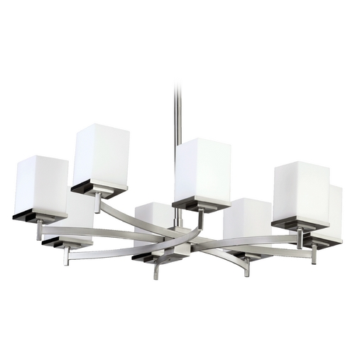 Quorum Lighting Mid-Century Modern Chandelier Satin Nickel Delta by Quorum Lighting 6084-8-65