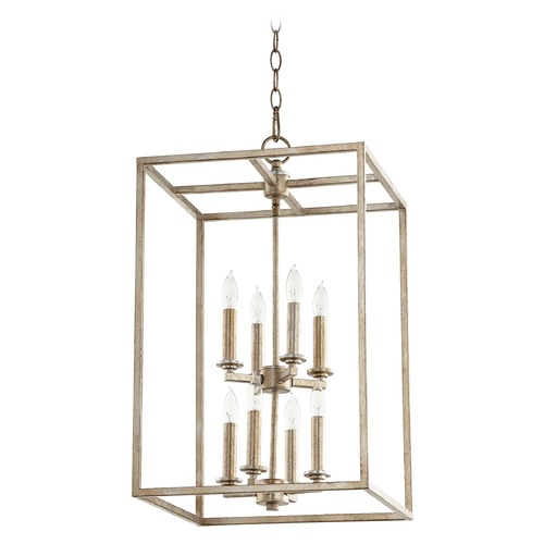 Quorum Lighting Quorum Lighting Aged Silver Leaf Pendant Light 6731-8-60