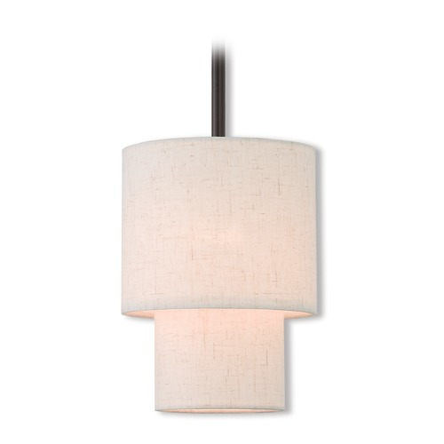 Livex Lighting Livex Lighting Claremont English Bronze Mini-Pendant Light with Cylindrical Shade 51080-92