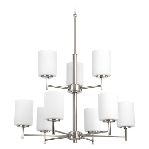 Progress Lighting Modern Chandelier Brushed Nickel Replay by Progress Lighting P4726-09