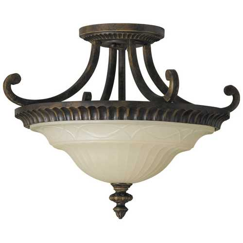 Feiss Lighting Semi-Flushmount Light with Amber Glass in Walnut Finish SF239WAL