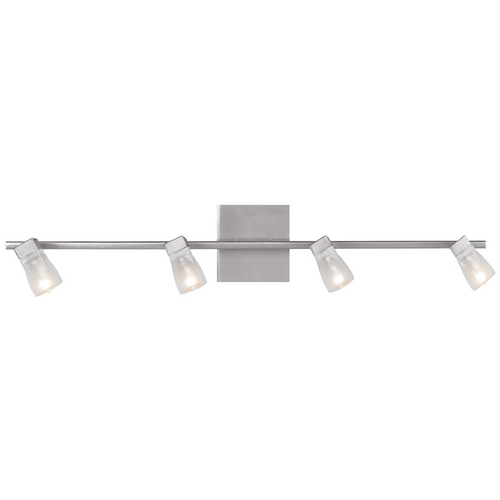 Access Lighting Modern Bathroom Light with White Glass in Brushed Steel Finish 52144-BS/FCL