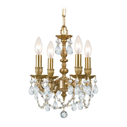 Crystorama Lighting Crystal Mini-Chandelier in Aged Brass Finish 5504-AG-CL-MWP
