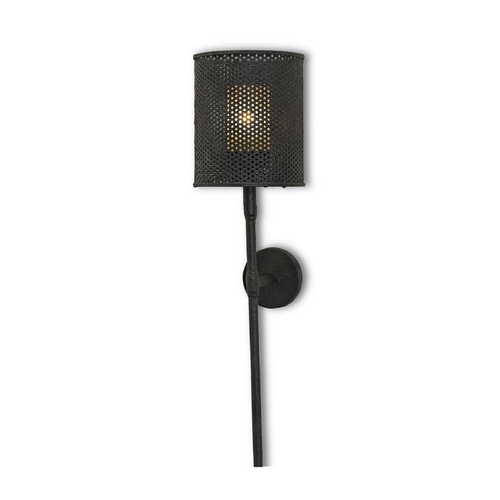 Currey and Company Lighting Modern Plug-In Wall Lamp in Mole Black Finish 5060