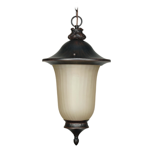 Nuvo Lighting Outdoor Hanging Light with Beige / Cream Glass in Old Penny Bronze Finish 60/2509