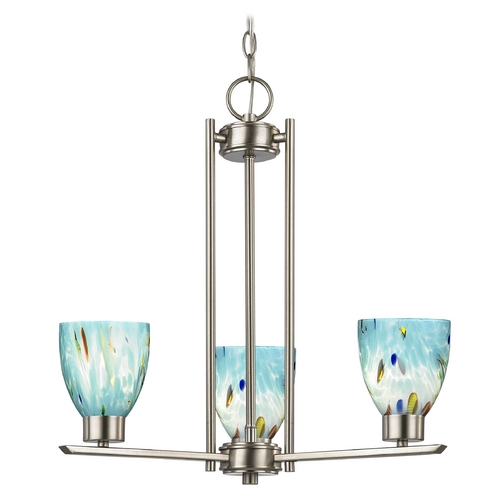 Design Classics Lighting Chandelier with Blue Art Glass in Satin Nickel - 3-Lights 1121-1-09 GL1021MB