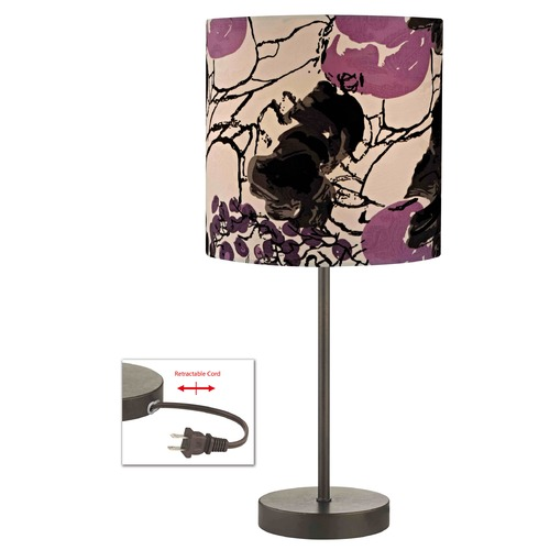 Design Classics Lighting Bronze Table Lamp with with Flower Print Drum Shade 1904-604 SH9498