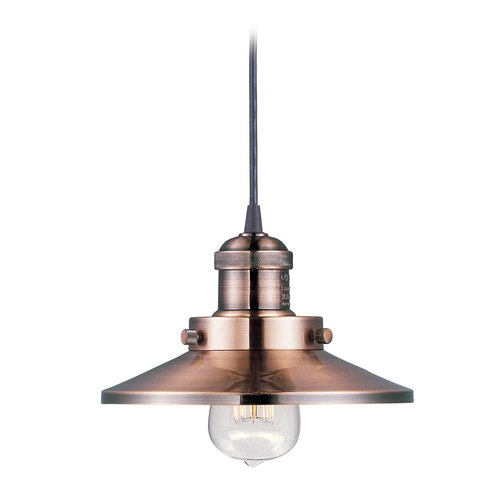 Maxim Lighting Maxim Lighting Mini Hi-Bay Antique Copper Mini-Pendant Light with Coolie Shade 25020ACP/BUI