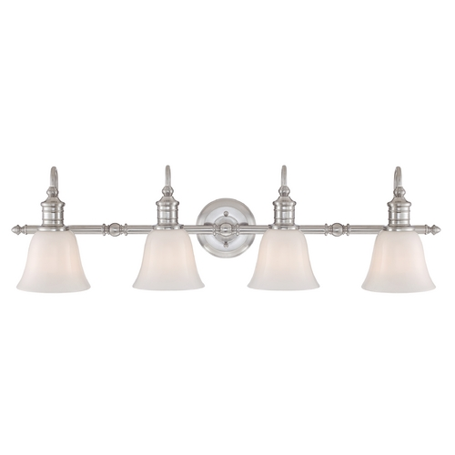 Quoizel Lighting Bathroom Light with White Glass in Brushed Nickel Finish BGT8604BN