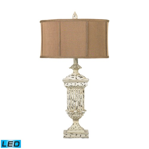 Dimond Lighting Dimond Lighting Distressed White LED Table Lamp with Drum Shade 93-029-LED