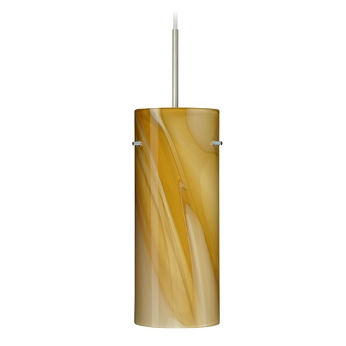 Besa Lighting Besa Lighting Stilo Satin Nickel LED Mini-Pendant Light with Cylindrical Shade 1JT-4123HN-LED-SN