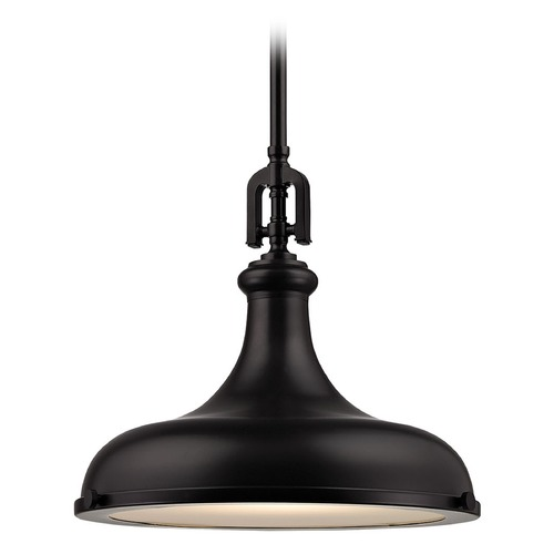 Elk Lighting Elk Lighting Rutherford Oil Rubbed Bronze Pendant Light with Bowl / Dome Shade 57061/1