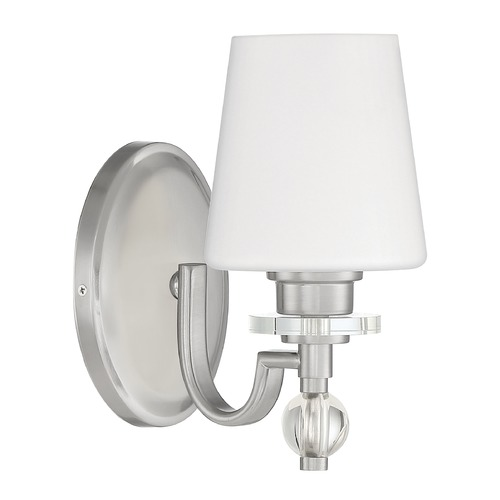 Quoizel Lighting Quoizel Lighting Hollister Brushed Nickel Sconce with Opal Glass HS8601BN