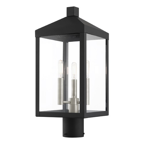 Livex Lighting Livex Lighting Post Light in Black with Brushed Nickel 20592-04
