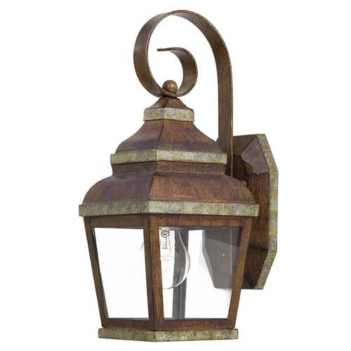 Minka Lavery Outdoor Wall Light with Clear Glass in Mossoro Walnut W/silver Highlights Finish 8261-161