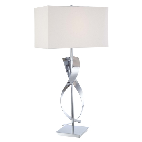 George Kovacs Lighting Modern Table Lamp with White Shade in Chrome Finish P723-077