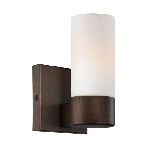 Minka Lavery Sconce Wall Light with White Glass in Copper Bronze Patina Finish 6211-647
