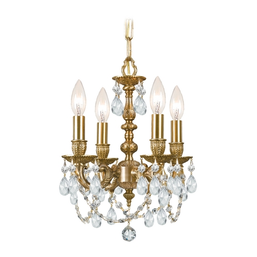 Crystorama Lighting Crystal Mini-Chandelier in Aged Brass Finish 5504-AG-CL-S