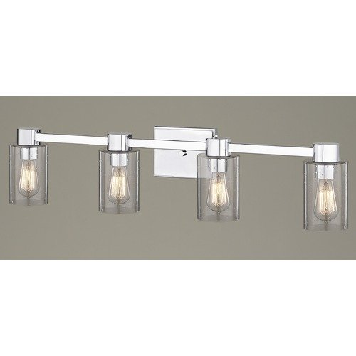 Design Classics Lighting 4-Light Seeded Glass Bathroom Light Chrome 2104-26 GL1041C