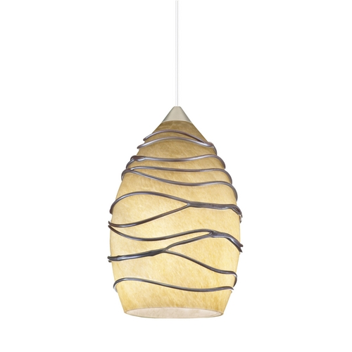 Juno Lighting Group Wrapped Art Glass Low Voltage Mini-Pendant DPEND MF P38 CDZ 78IN BP12 BZC BZA
