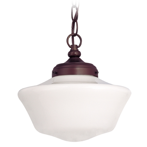 Design Classics Lighting 10-Inch Bronze Schoolhouse Pendant Light with Powellhurst Glass FA4-220 / GA10 / A-220