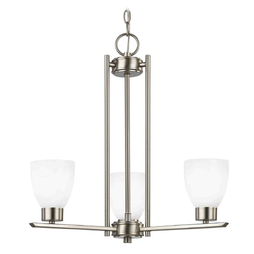 Design Classics Lighting Chandelier with White Glass in Satin Nickel - 3-Lights 1121-1-09 GL1024MB