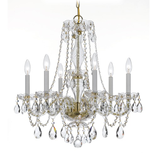 Crystorama Lighting Crystorama Lighting Traditional Crystal Polished Brass Chandelier 5086-PB-CL-S